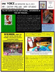 May 21 2013 ONE VOICE Art Newsletter - Holy Family Institute
