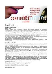 Biografie artisti delle Confidenze dell'arte 2007 - Provincia di Pistoia