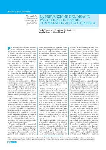la prevenzione del disagio psicologico in bambini con malattia acuta ...