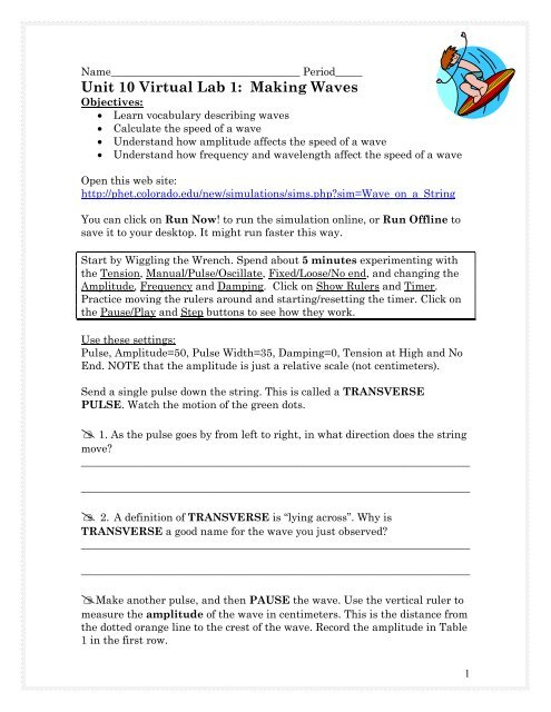 Waves on a string speed of a wave lab worksheet answers