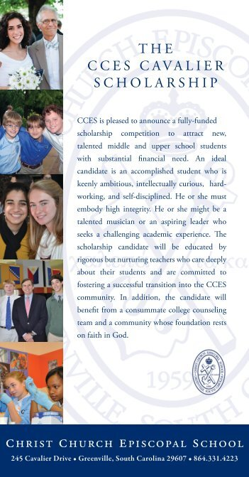 christ church episcopal school THE CCES CAVALIER SCHOLARSHIP