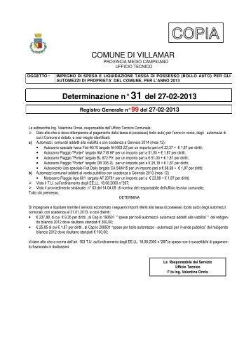 Scarica la Determina Ufficio Tecnico n. 31/2013 (Pdf 117 Kb)