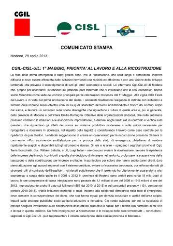 COMUNICATO STAMPA - CGIL Modena