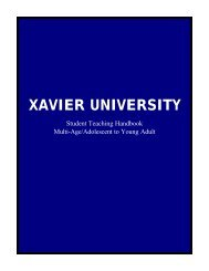 Student Teaching Handbook - Xavier University