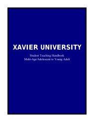 Student Teaching Handbook - Xavier University
