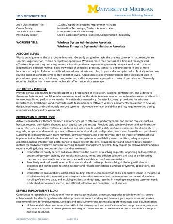 Systems Administrator Job Description Jr System Administrator Java