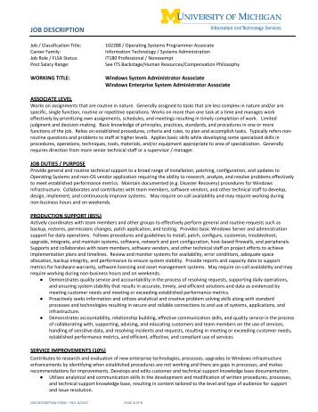 System Administrator Job Description System Administrator Job