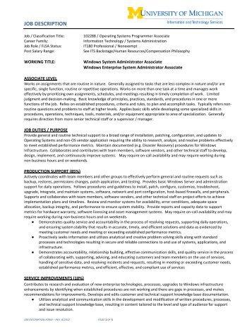 Windows System Administrator Associate Job Description ...   ITS
