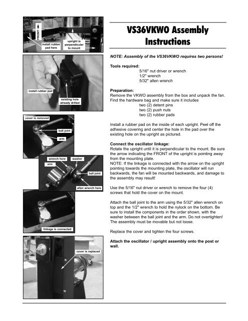 Versa-Kool Wall/Post Mount Oscillating Fan Instructions - Schaefer