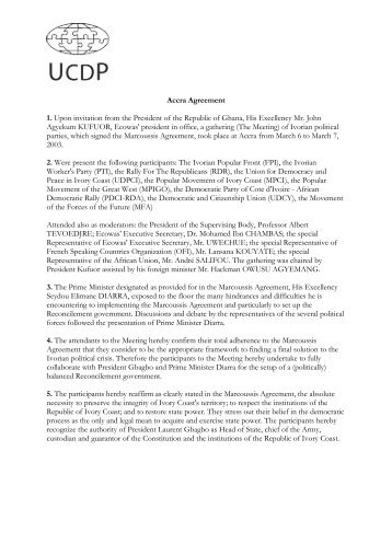 Accra Agreement 1. Upon invitation from the President of ... - UCDP