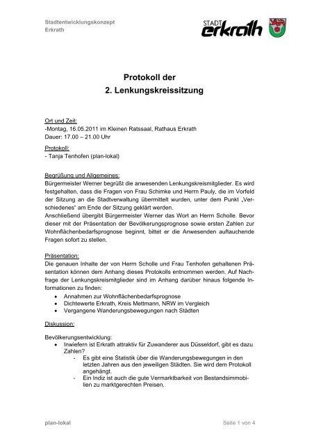Protokoll der 2. Lenkungskreissitzung - Zukunft Erkrath