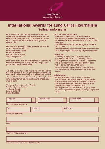 International Awards for Lung Cancer Journalism