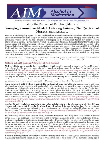 Why the Pattern of Drinking Matters:Emerging Research on ... - AIM