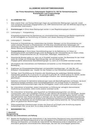 Allgemeine Dienstleistungsbedingungen - Hanselmann Gabelstapler