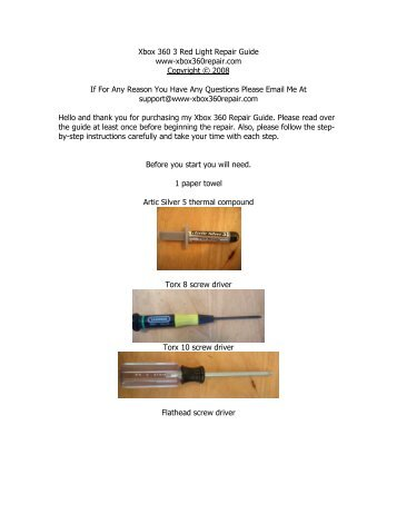 xbox 360 three red lights of death repair manual rh yumpu com xbox 360 wireless controller repair manual Xbox 360 Water Cooler