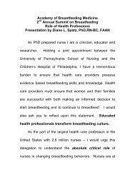 Testimony to the Academy of Breastfeeding Medicine - American ...