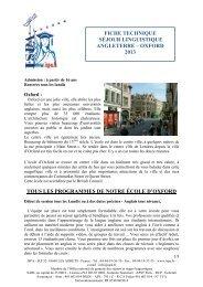Fiche Technique Séjour Linguistique Oxford 2013 - ISPA