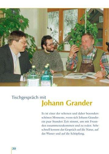 Tischgespräch mit Johann Grander