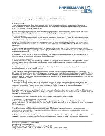 Allgemeine Mietbedingungen - Hanselmann Gabelstapler