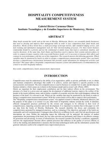 hospitality competitiveness measurement system - Tecnológico de ...