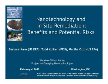 Barbara Karn (US EPA) - Project on Emerging Nanotechnologies