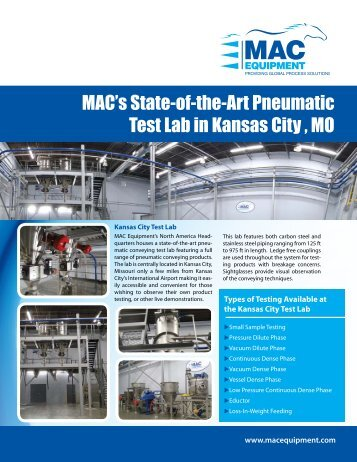 MAC's State-of-the-Art Pneumatic Test Lab in Kansas City , MO