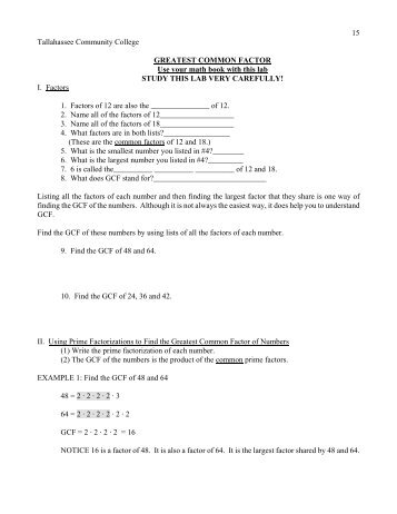 Greatest Common Factor Worksheet Kuta