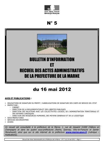 Recueil 5-2012 du 16 mai - 9,24 Mb - Préfecture de la Marne