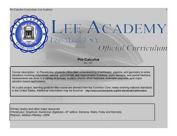 Pre-Calculus - Lee Academy