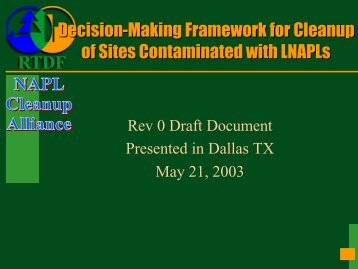 Decision-Making Framework For Cleanup Of Sites Contaminated