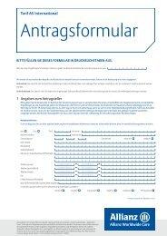 Antragsformular - Krankenversicherungsschutz im Ausland