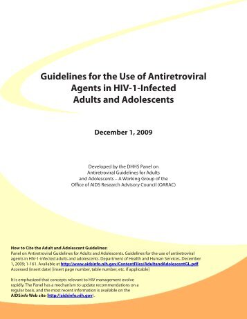 Guidelines for the Use of Antiretroviral Agents in ... - GLP/AF - Home