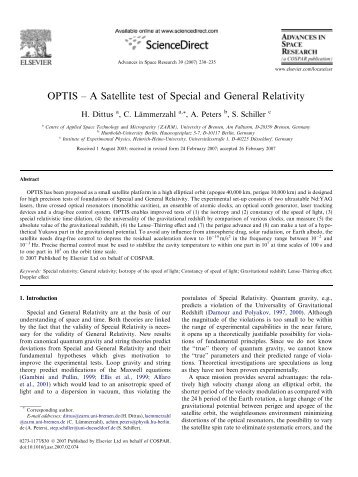 OPTIS – A Satellite test of Special and General Relativity - ZARM
