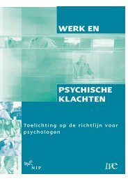 Toelichting Richtlijn Werk en Psychische Klachten - NIP