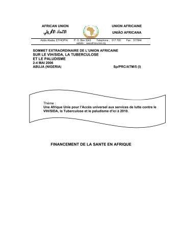 FINANCEMENT DE LA SANTE EN AFRIQUE - Union africaine