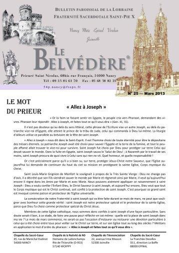 Le Belvédère n° 25 de mars 2013 - La Porte Latine