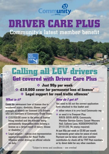 Driver Care Plus Leaflet - Community - The Union for Life