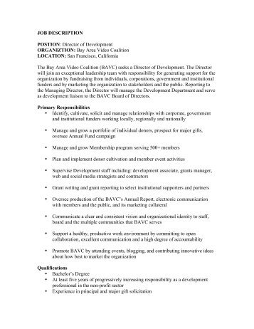 Wonderful Director Of Development Job Description Job Performance