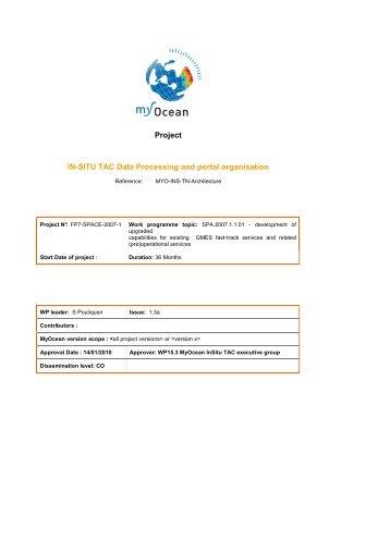 Project IN-SITU TAC Data Processing and portal ... - MyOcean