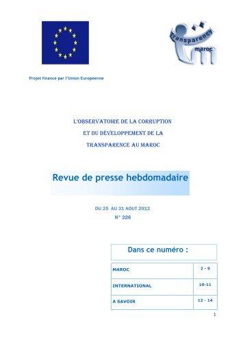 Revue de presse n° 226 du 25 au 31 août 2012 - Transparency