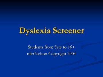 Dyslexia Screener - Tool Factory, Inc.