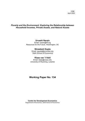 Poverty and the Environment - Centre For Development Economics