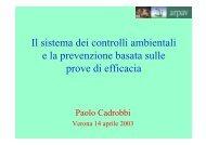 Il sistema dei controlli ambientali e la prevenzione ... - EpiCentro