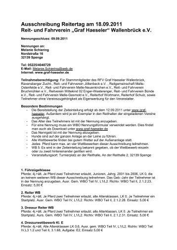 Ausschreibung Reitertag 2011 - Graf Haeseler