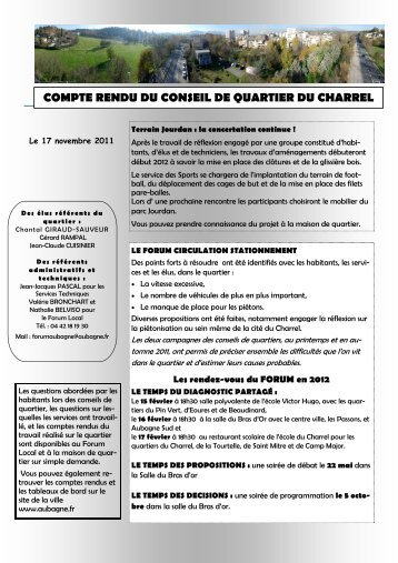 Compte rendu 01 avril conseil da quartier nord ville de for Piscine du charrel