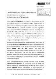 4. Poststraßenfest zum Tag des offenen Denkmals Mit der ...