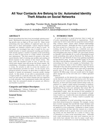 Automated Identity Theft Attacks on Social Networks - NEU SECLAB