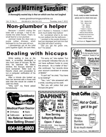 Non-plumber`s helper - Good Morning Sunshine.ca