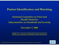 Jerry Bradshaw - National Committee on Vital and Health Statistics