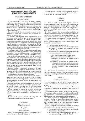 Decreto-Lei n.º 238/2004 - Instituto Nacional de Aviação Civil